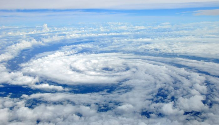Overhead picture of eye of a hurricane